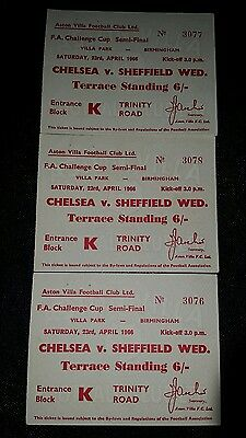 3x 1966 FA Cup semi Final tickets  Sheffield Wednesday v Chelsea consecutive nos