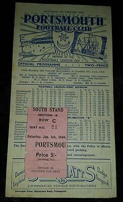 1949 FA cup 3 PORTSMOUTH v STOCKPORT COUNTY  original match programme and ticket
