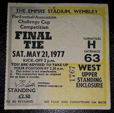 1977 FA Cup final Liverpool  v Manchester United  original  ticket