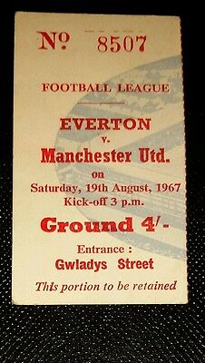 1967/68 Division 1 EVERTON  v MANCHESTER UNITED  original ticket
