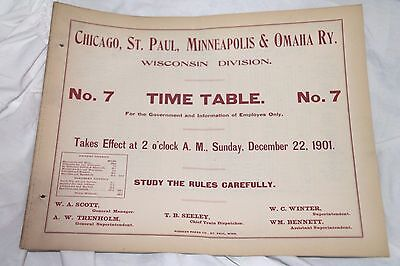 """Chicago St Paul Minneapolis & Omaha Ry """"Blanket"""" Timetable #7 Dated 12- 22 -1901"""