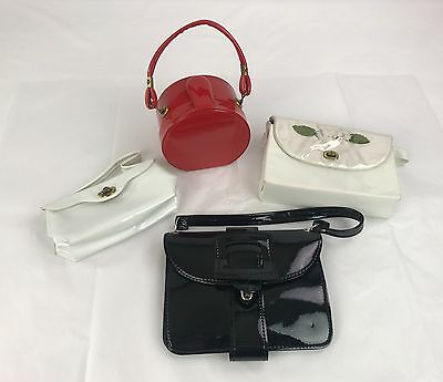 Lot of 4 Vintage Girl's Purses 3 Patent Leather & 1 With Flowers Red White Black