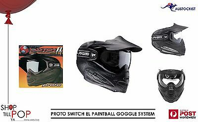 Proto Switch EL Paintball Goggle System Mask with visor BNIB Black/Black Sport