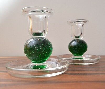 Mid Century Vintage  Glass Controlled Bubble Candle Holders