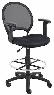 Boss Office Products B16216 Mesh Drafting Stool with Adjustable Arms in Black