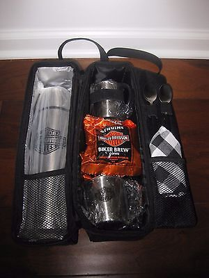 NEW Harley Davidson Roast 'N' Roll Travel Coffee Set Thermos, Cups, Coffee MORE