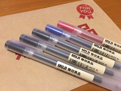 MUJI MoMA 0.38mm 3 cols assorted (Black, Blue & Red) Pens FREE SHIPPING from JPN