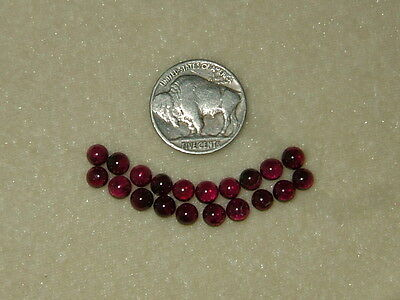 OLD STOCK Lot of 20 Natural Burgundy/Red Garnet Cabochons 5mm Translucent Rounds