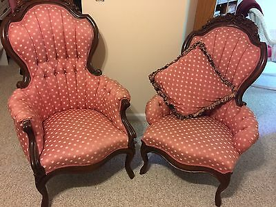 Victorian Antique Vintage Sofa And His Her Chairs, Set