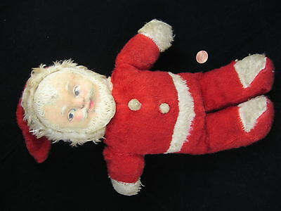 """Vintage 1940s Wind Up Musical Plush Stuffed Santa Claus Doll Rubber Face 14"""""""