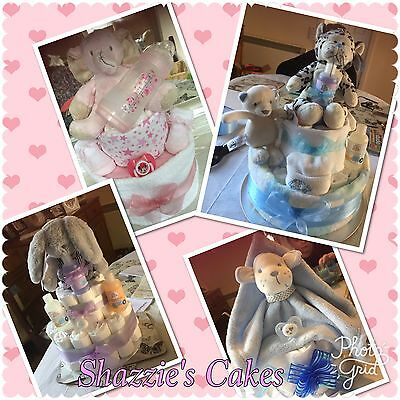 Single or 2 tier Nappy Cakes Boy, Girl Or Neutral new Mum Baby Shower Gift