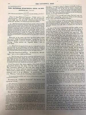1896 NATIONAL ELECTRICAL CODE EDITS article from The Ins, Post of Chicago