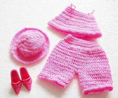 Outfit Barbie Doll Crochet Hand Made Blouse Pants Hat Shoes Pink Color Toy New