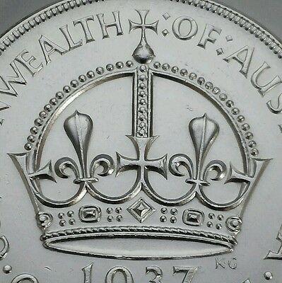 Australia 1 Crown 1937. KM#34. .925 Silver One Dollar coin. George VI. UNC. MS.
