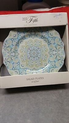 B.N.I.B.222 FIFTH LYRIA TEAL AQUA GREEN MEDALLION  SET of  FOUR (4) SALAD PLATES