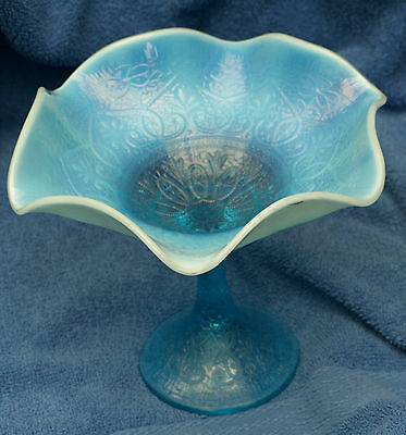 Scarce Northwood Hearts and Flowers Blue Opalescent Compote, 1908