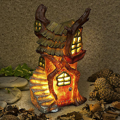 New Garden Glow Solar Fairy House -Stump Cottage - Home of Shadow Firewall Witch