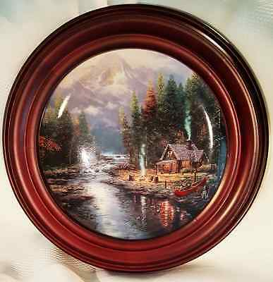 "Thomas Kinkade ""A Quiet Evening at Riverlodge"" Limited Edition Plate with Frame"