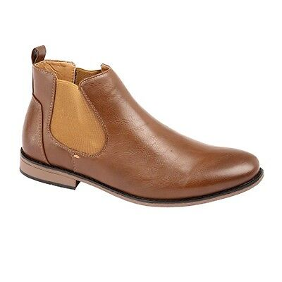 Mens Boys Slip On Chelsea Ankle Wedding Casual Formal Boot Gift 7 8 9 10 11 12