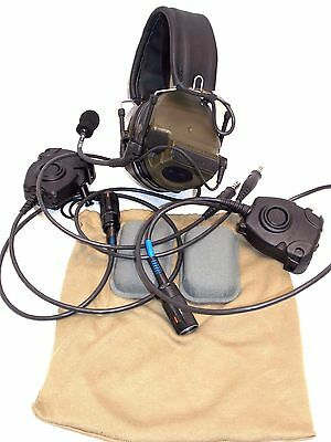 3M Peltor Comtac Iii Ach Dual Comms Tactical Headset Od Green (2) Ptt Switches