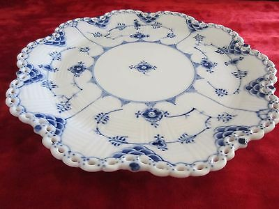 Blue Fluted Full (open) Lace~Scalloped Edge Serving Plate~Dessert/Fruit/Pastry~