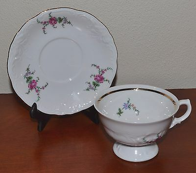 Vintage Royal Kent Poland RKT23 Floral Footed Cup And Saucer Set, Special Price
