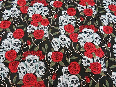 Large Skulls & Roses Thorns 100% Cotton Fabric 135cm Wide Skeletons DAY OF DEAD
