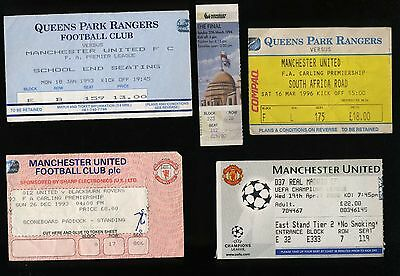 Five Vintage Manchester United Tickets QPR Real Madrid Blackburn Rovers Chelsea