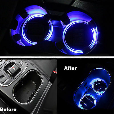 2pcs Car LED Solar Cup Holder Bottom Pad LED Light Cover Trim Atmosphere Lamp