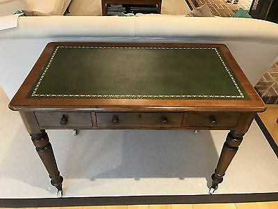Elegant Victorian Mahogany Writing Table Desk Leather Topped Side Table