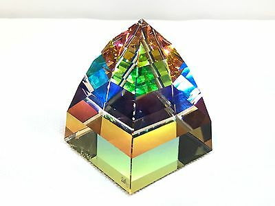 Swarovski Pyramid Paperweight Vitrail Medium Signed 7450 Art Glass Prism
