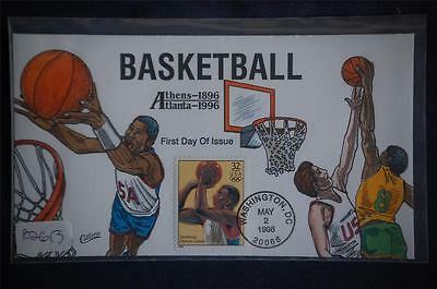 1996 Summer Olympics Mens Basketball Stamp FDC Handpainted Collins#B2613 S#3068t