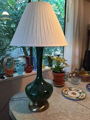 Mid Century Modern LARGE Drip Glaze Table Lamp Green and Blue Retro 1960's
