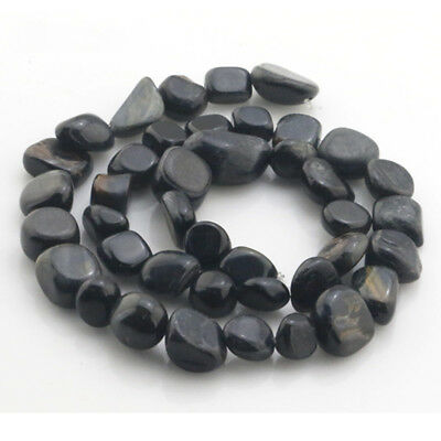 8-12mm Natural Tiger's Eye Freeform Gravel Gemstone Loose Beads Strand 15.5""