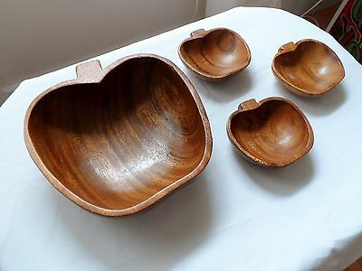 Vintage Apple Shaped Monkey Pod Wood Bowls(4) Hawaii Thanksgiving Special!