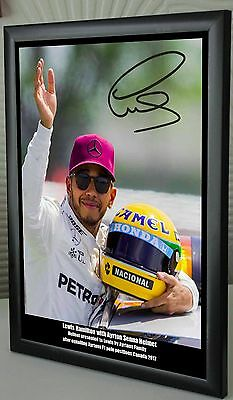 "Lewis Hamilton Ayrton Senna Helmet 2017 Framed Canvas Print Signed ""Great Gift"""