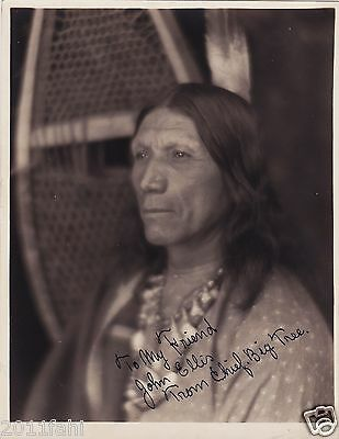 Chief Big Tree, original photo, Inscribed to John Ellis, c1920
