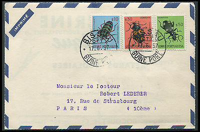 Guinee Portuguese Insects on 1957 cover to France