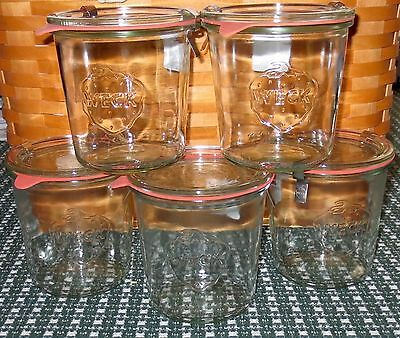 NWT Set of 5  Weck 19.6 oz. Canning Jars incl lids, clamps and gaskets NEW
