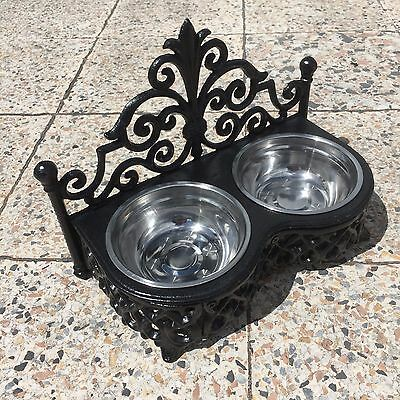 Cast Iron Small Raised Dog Bowl 2 Stainless Steel Bowls Cat Dish Black Cast Iron