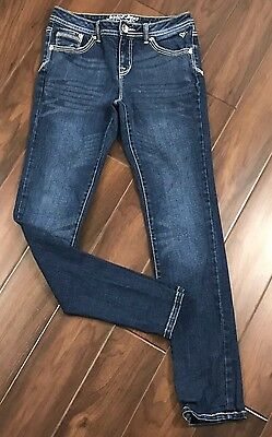 Justice for Girls Size 14R Dark / Medium Wash Denim Pants Jeans Straight Skinny