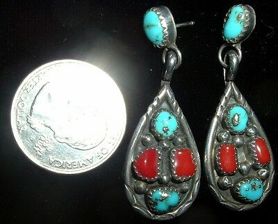 Older, Sterling Silver, Branch Coral & Morenci Turquoise Navajo Earrings