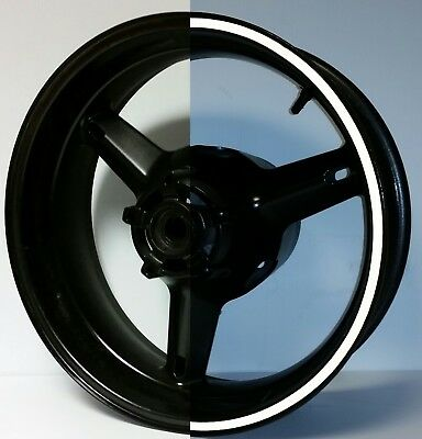"BLACK REFLECTIVE MOTORCYCLE RIM STRIPES WHEEL DECALS TAPE STICKERS upto 19"" rims"