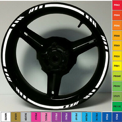 Black Motorcycle 3M Reflective Rim Stripes Wheel Decals Tape Stickers Custom Gp