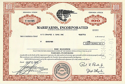 1973 MARIFARMS INCORPORATED Stock Certificate SHRIMP - DELAWARE Pays cancer bill