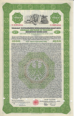 1953 $1000 Bond German Government International Loan of 1930 Extension T. Heuss