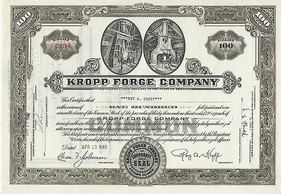 1946 Kropp Forge Company Stock Certificate ILLINOIS Signed Issued to Roy Kropp