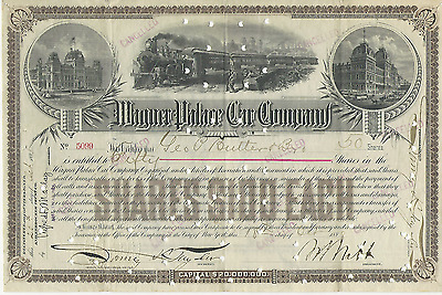 1898 WAGNER PALACE CAR COMPANY Stock Certificate NEW YORK signed Pays caner bill