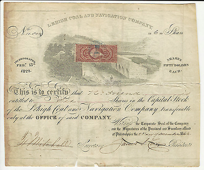 1866 THE LEHIGH COAL AND NAVIGATION COMPANY STOCK CERTIFICATE * Pays Cancer Bill