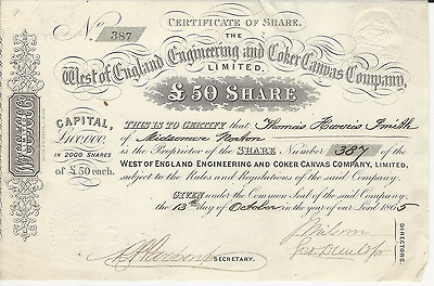 1865 West of England Engineering and Coker Canvas Company * Pays Cancer Bills
